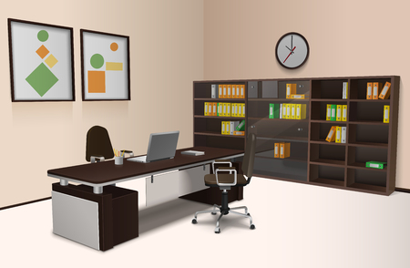 Realistic office interior with work desk chair and bookshelf 3d vector illustration