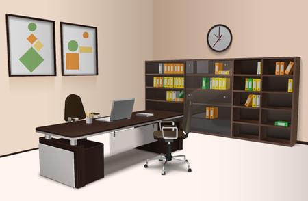 bookshelf: Realistic office interior with work desk chair and bookshelf 3d vector illustration