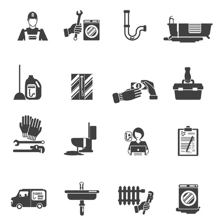 leakage: Plumber service tools kit black pictograms set with radiator heater system damage fixing abstract isolated vector illustration