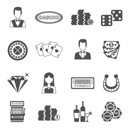 croupier: Casino black white icons set with slot machine and roulette symbols flat isolated vector illustration Illustration