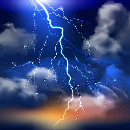Lightning and stormy sky with heavy clouds realistic background vector illustration Çizim