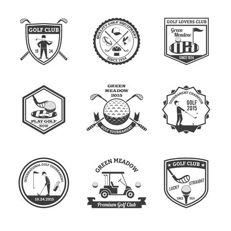 Golf zwart wit emblemen set met golfclubs en kampioenen symbolen vlakke geïsoleerde vector illustratie