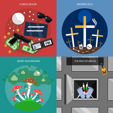 drug: Drug concept icons set with drug dealer merry mushrooms and path of drugs symbols flat isolated vector illustration
