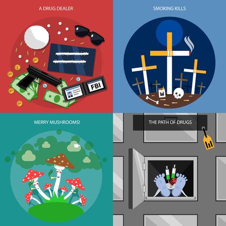 droga: Iconos del concepto de drogas establecen con setas narcotraficante Merry y camino de las drogas s�mbolos ilustraci�n del vector aislado plana Vectores