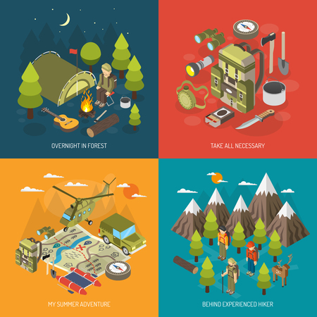 camping: Hiking and camping design concept with tourists backpack tent axe compass binoculars bonfire vector illustration Illustration