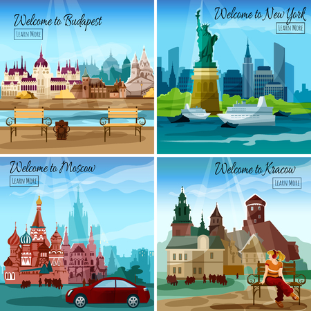 famous cities: Famous cities design concept set with budapest new york and moscow landmarks isolated vector illustration