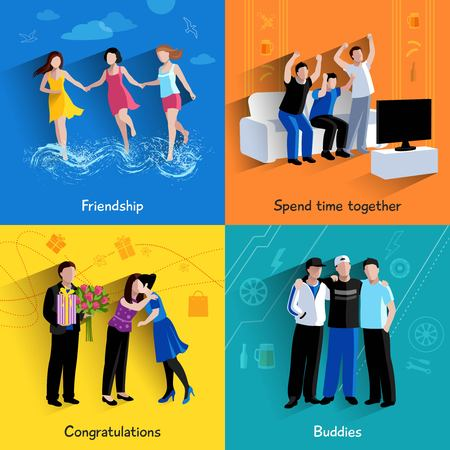 woman watching tv: Friends buddies special events celebration and tv watching 4 flat icons square composition abstract isolated vector illustration