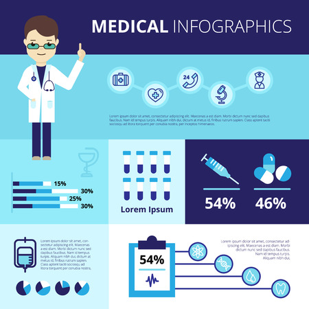 health technology: Medical infographics with doctor in white coat emergency care icons statistics and graphs vector illustration Illustration
