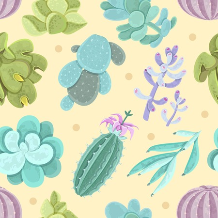 types of cactus: Cactus and other succulents seamless pattern for decoration on yellow background flat vector illustration