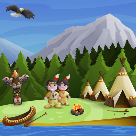 teepee: Native american concept with cartoon persons teepees and  mountains background vector illustration