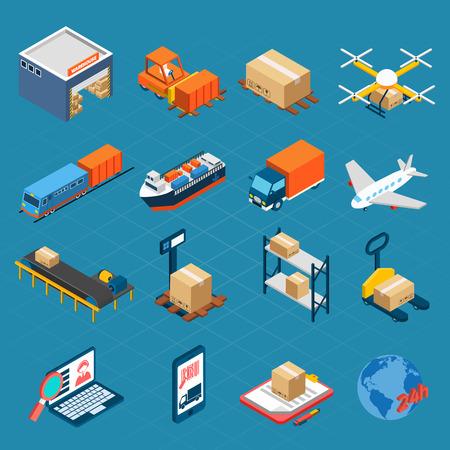 transportation: Icone isometriche logistici set di aria acqua e merci Trasporti a terra isolato illustrazione vettoriale Vettoriali