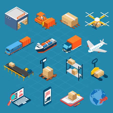 logistics: Isometric logistic icons set of water air and ground cargo transportation isolated  vector illustration