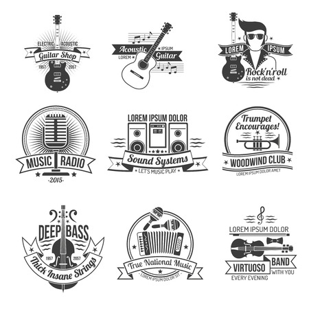 Music black label set with styles and instruments isolated vector illustration