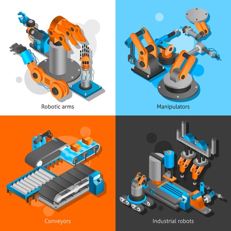 herramientas de mec�nica: Industrial robot design concept set with robotia arms and conveyors isometric icons isolated vector illustration