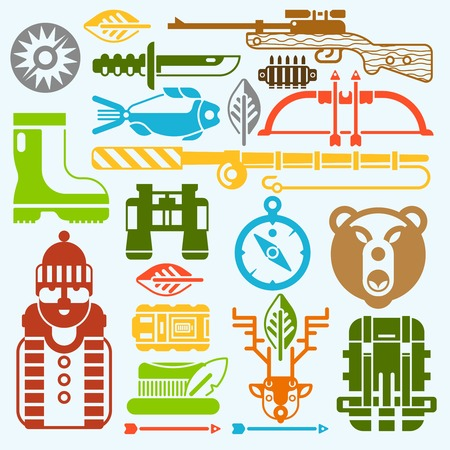 weapons: Hunting and fishing icons flat monochrome set with weapon and tackle isolated vector illustration Illustration