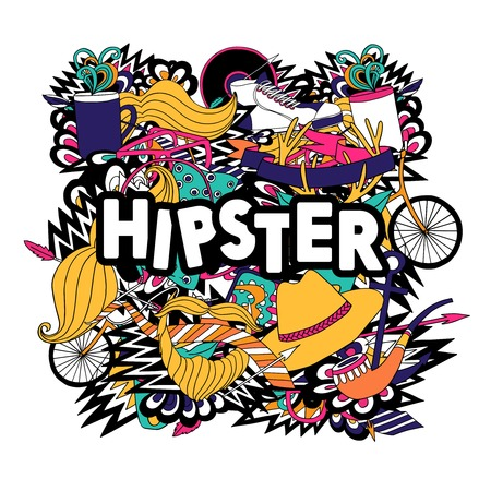 mustaches: Hipster lifestyle accessories and fashion symbols compositions with pipe and fake mustaches pictograms poster abstract vector illustration