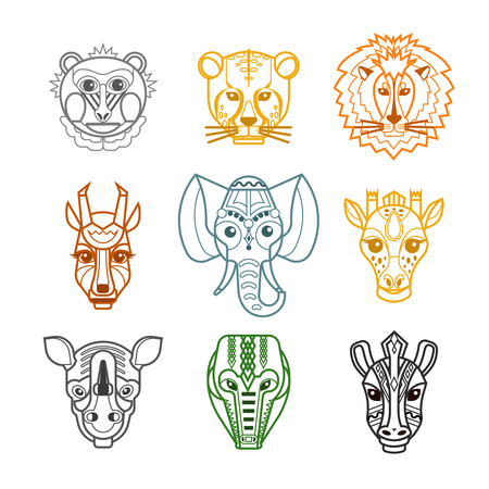 animals collection: African tribal craft facial masks pictograms collection with lion crocodile wild animals heads color line isolated vector illustration Illustration