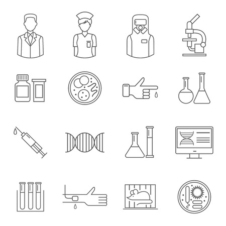 assay: Microbiology thin line symbol depicting people laboratory equipment, genetic elements syringe and assay isolated vector illustration Illustration