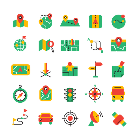 road traffic: Flat color GPS and navigation icons set with satellite equipment vehicles and road route isolated vector illustration