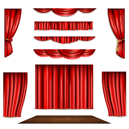 Red theatre curtain in different shape and wooden stage realistic isolated vector illustration