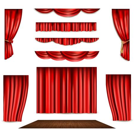 sipario chiuso: Tenda rossa del teatro in forma diversa e palco di legno realistica illustrazione vettoriale isolato