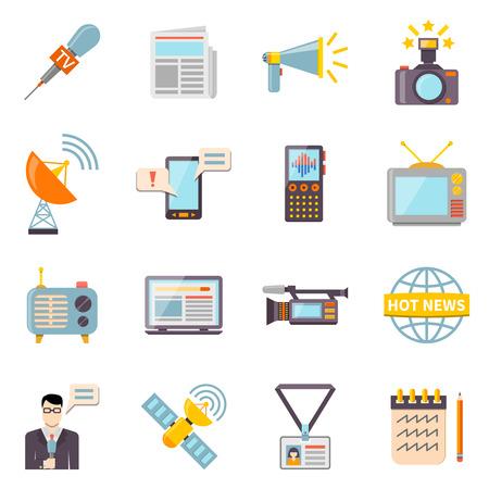 accreditation: Mass media icons set with telecommunications radio and news symbols flat isolated vector illustration