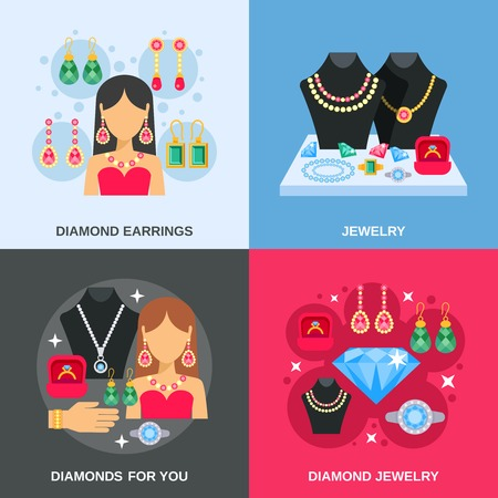 bead jewelry: Jewelry concept icons set with diamond jewelry flat isolated vector illustration