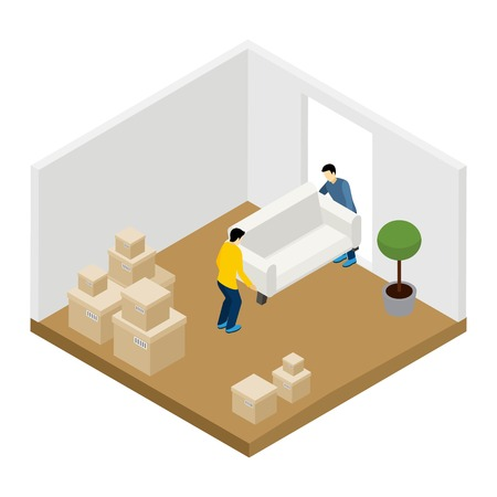 belongings: People moving in and out with furniture and boxes isometric vector illustration Illustration