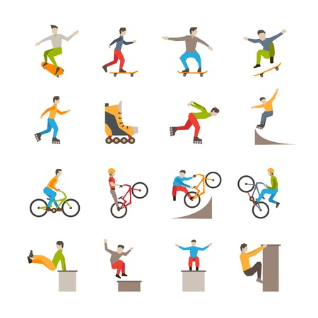 people in action: Flat isolated urban sport icons with people action in skateboarding rollerblading cycling parkour vector illustration