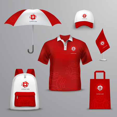 Promotional souvenirs  for company in red and white colors design icons set with elements of clothing and accessories isolated vector illustration Vectores