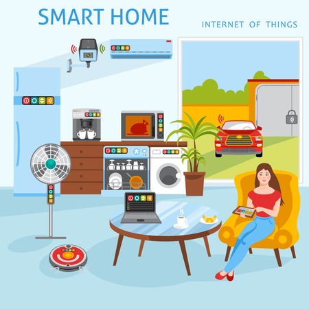 Internet of things iot smart home concept poster with household control tablet touch screen abstract vector illustration Illustration