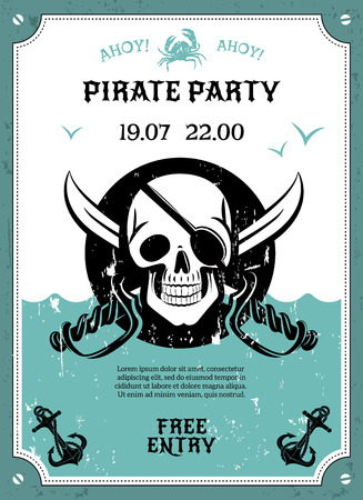 jolly roger pirate flag: Pirate party free entry announcement poster with skull with eye pad date and time abstract vector illustration. Editable  and Render in JPG format