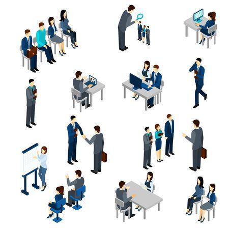 Proceso de contratación establece con la gente de negocios isométricas empleados aislado ilustración del vector Foto de archivo - 49547588