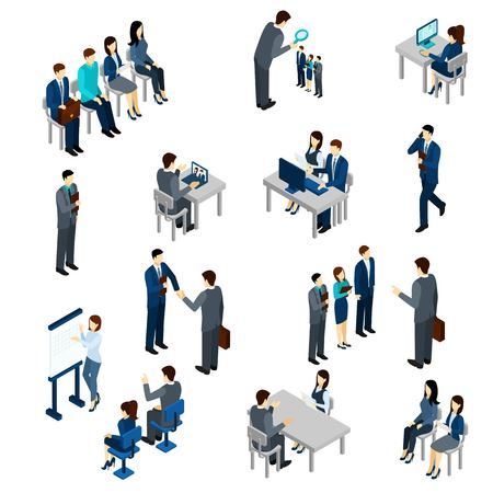 staff team: Recruitment process set with isometric business people employees isolated vector illustration Illustration