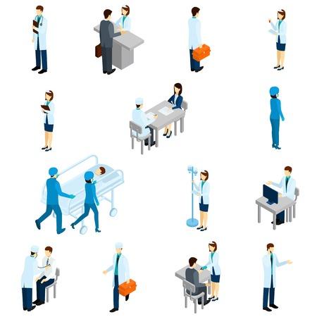 medico caricatura: El doctor conjunto isométrica con la gente de la clínica y los pacientes 3d aislado ilustración del vector