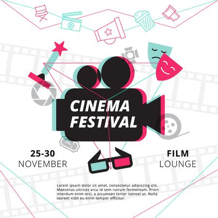 Cinema festival plakat z kamery sylwetka w centrum i atrybuty ilustracji wektorowych branży filmowej