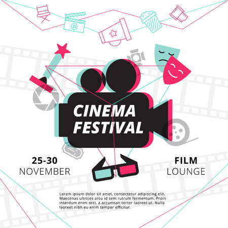 movie and popcorn: Cinema festival poster with camcorder silhouette in center and attributes of film industry vector illustration