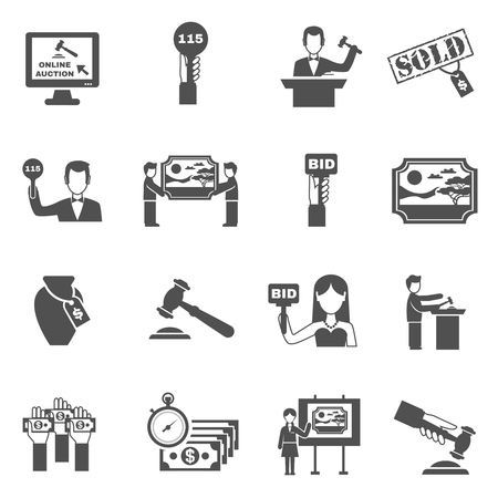 Auction black white icons set with bidding symbols flat isolated vector illustration Иллюстрация