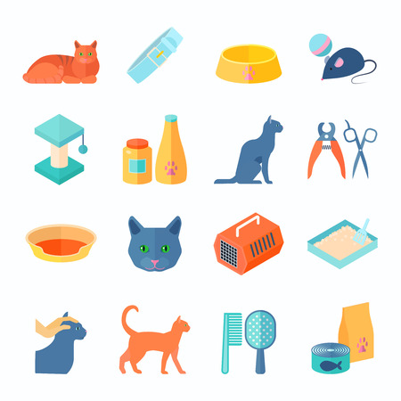 indoor: Raising healthy indoor cat flat icons set with food and care products supply abstract isolated vector illustration Illustration