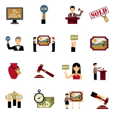 auction: Auction icons set with hammer hands and money symbols flat isolated vector illustration Illustration