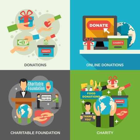 Charity concept icons set with online donations symbols flat isolated vector illustration