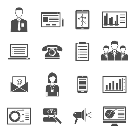 office documents: Collection of marketing black  icons with white background for blog performance web site design isolated vector illustration