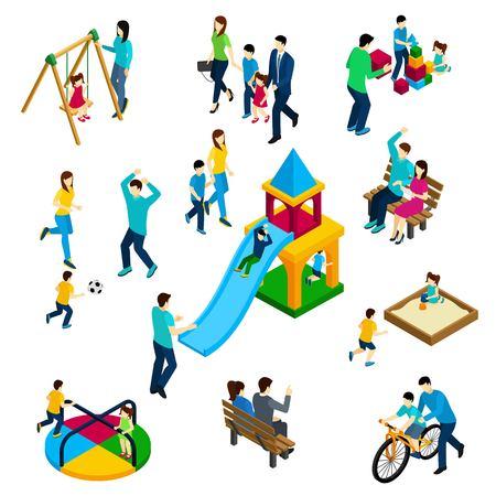 Spelen van de familie concept met isometrische volwassenen en kinderen op spelen geïsoleerd grond vector illustratie Stock Illustratie