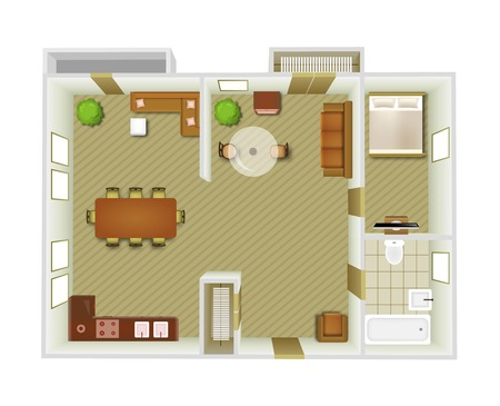 city living: Flat interior top view with living room and kitchen furniture vector illustration