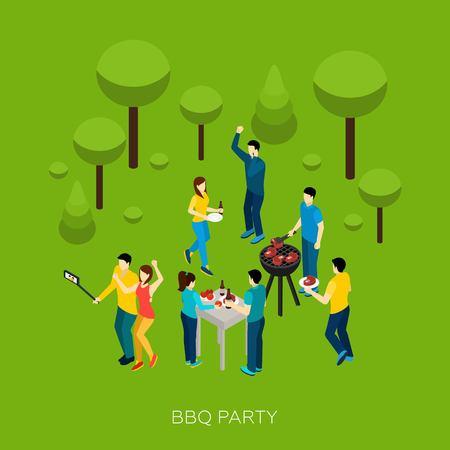 festa: amigos festa churrasco com pessoas isométricos e ilustração vetorial equipamentos de grade