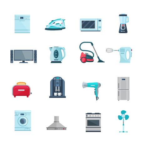 Flat color icons set of household appliances with vacuum iron tv refrigerator washing stove fan isolated vector illustration
