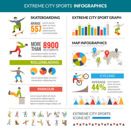 sport background: Extreme city sports infographics with skateboarding rollerblading cycling parkour statistics vector illustration