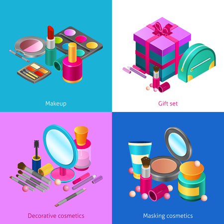makeup products: Cosmetics design concept set with isometric makeup products isolated vector illustration