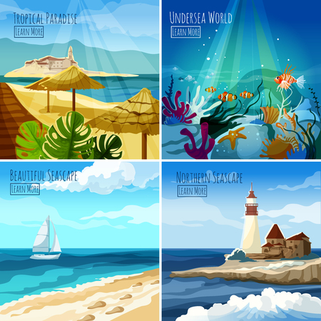 sea world: Seascape design concept set with tropical paradise and undersea world icons isolated vector illustration