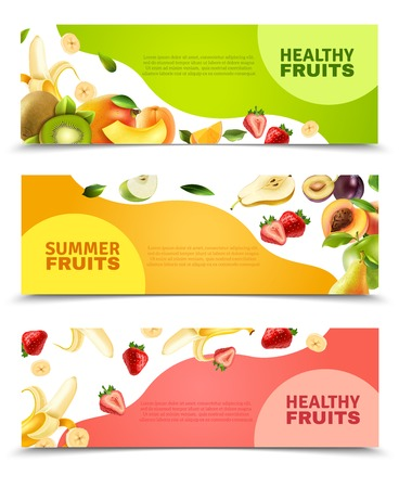 sliced fruit: Summer healthy diet organically grown fruits and berries 3 horizontal colorful banners set abstract isolated vector illustration Illustration